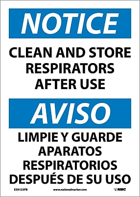 Notice, Clean And Store Respirators After Use (Bilingual), 14X10, Adhesive Vinyl