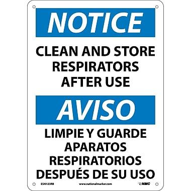 Notice, Clean And Store Respirators After Use (Bilingual), 14X10, Rigid Plastic
