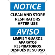 Notice, Clean And Store Respirators After Use (Bilingual), 14X10, Rigid Plastic