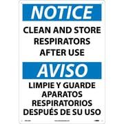 Notice, Clean And Store Respirators After Use (Bilingual), 20X14, Rigid Plastic
