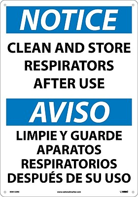 Notice, Clean And Store Respirators After Use (Bilingual), 20X14, Rigid Plastic