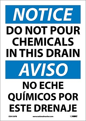 Notice, Do Not Pour Chemicals In This Drain (Bilingual), 14X10, Adhesive Vinyl