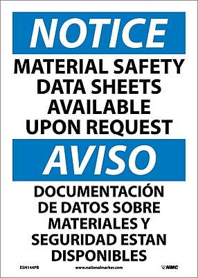 Notice, Material Safety Data Sheets Available Upon Request (Bilingual), 14X10, Adhesive Vinyl