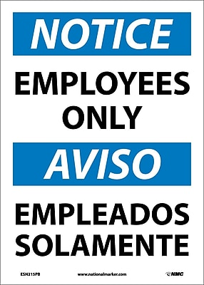 Notice, Employees Only (Bilingual), 14X10, Adhesive Vinyl