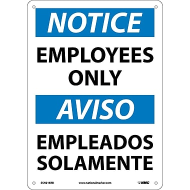 Notice, Employees Only (Bilingual), 14X10, Rigid Plastic