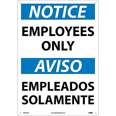 Notice, Employees Only (Bilingual), 20X14, Rigid Plastic