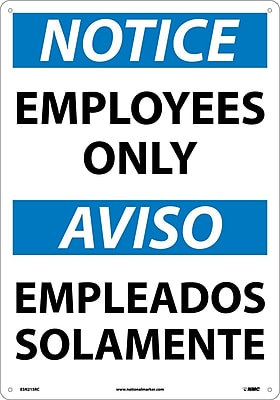 Notice, Employees Only (Bilingual), 20X14, Rigid Plastic