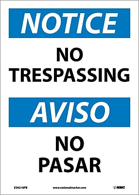 Notice, No Trespassing Bilingual, 14X10, Adhesive Vinyl