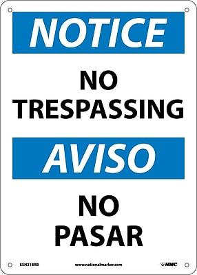 Notice, No Trespassing Bilingual, 14X10, Rigid Plastic