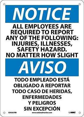 Notice, All Employees Are Required To Report..(Bilingual), 14X10, Rigid Plastic