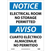 Notice, Electrical Room No Storage Permitted Bilingual, 14X10, Adhesive Vinyl