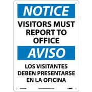 Notice, Visitors Report To Office Bilingual, 14X10, Rigid Plastic