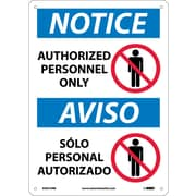 Notice, Authorized Personnel Only, Bilingual, (W/Graphic), 14X10, Rigid Plastic