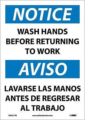 Notice, Wash Hands Before Returning To Work, Bilingual, 14X10, Adhesive Vinyl