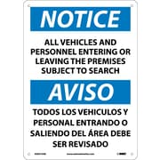 Notice, All Vehicles And Personnel Entering Or Leaving The Premises Subject To Search, Bilingual