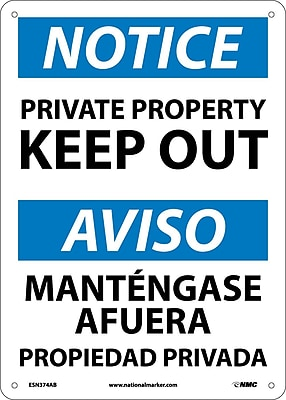 Notice, Private Property Keep Out, Bilingual, 14X10, .040 Aluminum