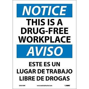 Notice, This Is A Drug-Free Workplace, Bilingual, 14X10, Adhesive Vinyl