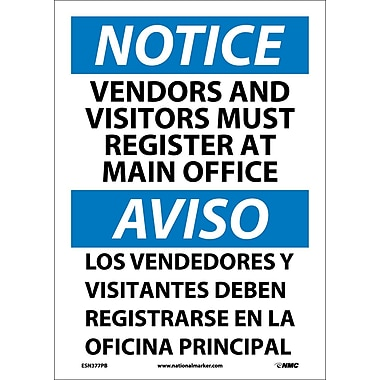Notice, Vendors And Visitors Must Register At Main Office, Bilingual, 14X10, Adhesive Vinyl