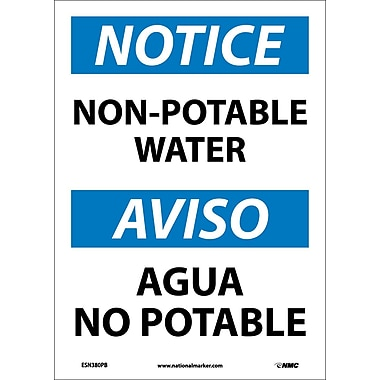 Notice, Non-Potable Water, Bilingual, 14X10, Adhesive Vinyl