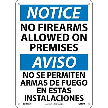Notice, No Firearms Allowed On Premises, Bilingual, 14X10, .040 Aluminum