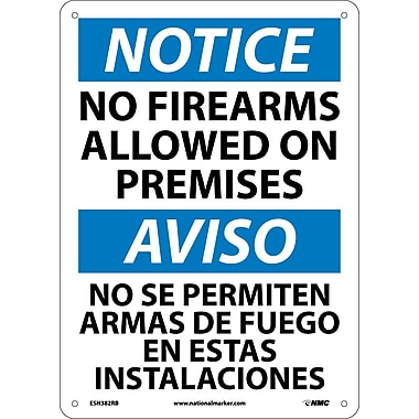 Notice, No Firearms Allowed On Premises, Bilingual, 14X10, Rigid Plastic