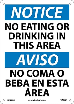 Notice, No Eating Or Drinking In This Area, Bilingual, 14X10, .040 Aluminum