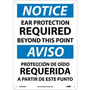 Notice, Ear Protection Required Beyond This Point, Bilingual, 14X10, .040 Aluminum