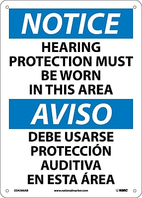 Notice, Hearing Protection Must Be Worn In This Area, Bilingual, 14X10, .040 Aluminum