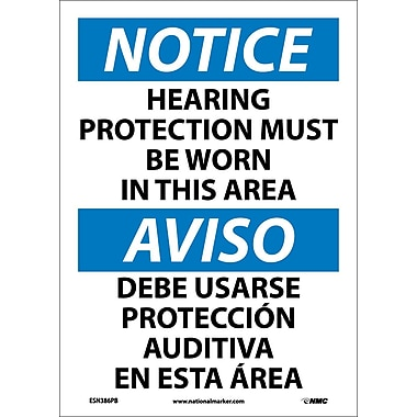 Notice, Hearing Protection Must Be Worn In This Area, Bilingual, 14X10, Adhesive Vinyl