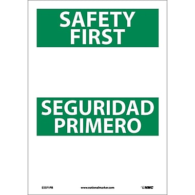 Safety First Seguridad Primero Blank, Bilingual, 14X10, Adhesive Vinyl