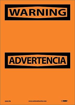 Warning Advertencia Blank, Bilingual, 14X10, Adhesive Vinyl