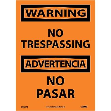 Warning, No Trespassing Bilingual, 14X10, Adhesive Vinyl