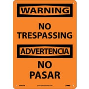 Warning, No Trespassing Bilingual, 14X10, Rigid Plastic