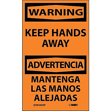Labels - Warning, Keep Hands Away Bilingual, 5X3, Adhesive Vinyl, 5/Pk