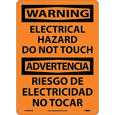 Warning, Electrical Hazard Do Not Touch Bilingual, 14X10, .040 Aluminum