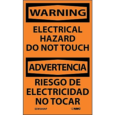 Labels - Warning, Electrical Hazard Do Not Touch Bilingual, 5X3, Adhesive Vinyl, 5/Pk