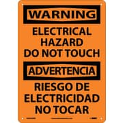 Warning, Electrical Hazard Do Not Touch Bilingual, 14X10, Rigid Plastic
