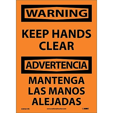 Warning, Keep Hands Clear Bilingual, 14X10, Adhesive Vinyl