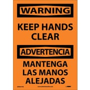 Warning, Keep Hands Clear Bilingual, 14X10, Adhesive Vinyl
