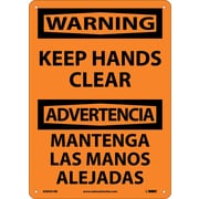 Warning, Keep Hands Clear Bilingual, 14X10, Rigid Plastic