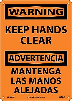 Warning, Keep Hands Clear Bilingual, 14X10, Rigid Plastic