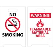 Floor Sign, Dbl Side, No Smoking Warning Flammable Material Area, 20X12