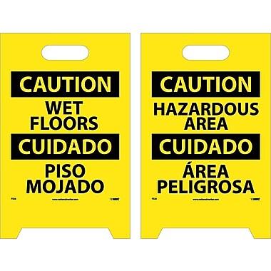 Floor Sign, Dbl Side, Caution Wet Floor Caution Hazardous Area (Bilingual), 20X12