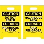 Floor Sign, Dbl Side, Caution Do Not Enter Caution Hazardous Area (Bilingual), 20X12