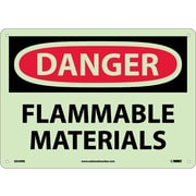 Danger, Flammable Materials, 10X14, Rigid Plasticglow