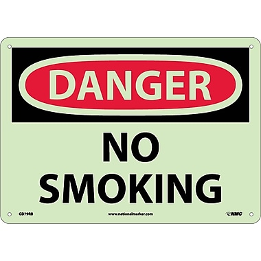 Danger, No Smoking, 10X14, Rigid Plasticglow