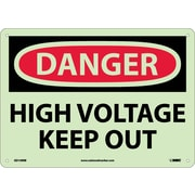 Danger, High Voltage Keep Out, 10X14, Rigid Plasticglow