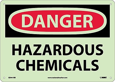 Danger, Hazardous Chemicals, 10X14, Rigid Plasticglow
