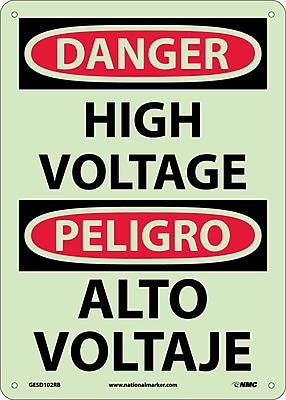 Danger, High Voltage, Bilingual, 14X10, Glow Rigid Plastic