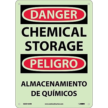 Danger, Chemical Storage, Bilingual, 14X10, Glow Rigid Plastic